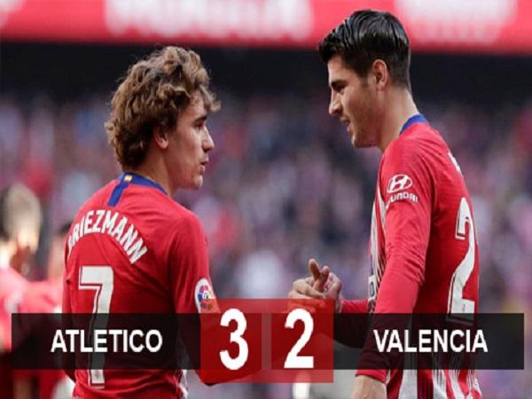 Atletico 3-2 Valencia: Barca chưa thể vô địch sớm