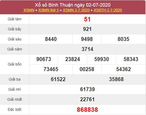 Thống kê XSBTH 9/7/2020 chốt KQXS Bình Thuận thứ 5