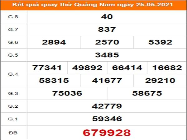 Quay thử kết quả xổ số Quảng Nam 25/5/2021